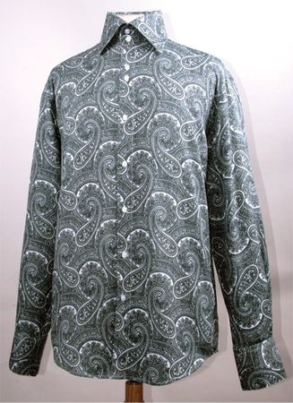 Mens Fancy Club Shirt High Collar White Paisley FSS1417 - click to enlarge