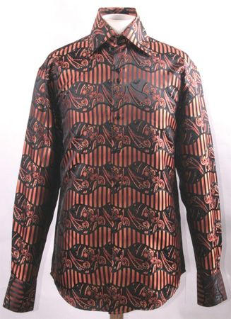 Mens Fancy High Collar Club Shirt Orange Paisley FSS1422 - click to enlarge