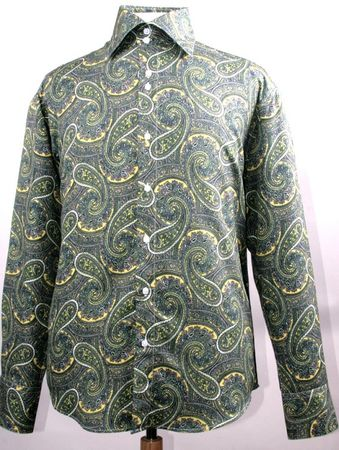 Mens Fancy High Collar Paisley Shirt Mustard Color FSS1417 - click to enlarge