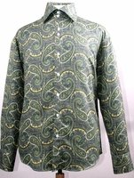 Mens Fancy High Collar Paisley Shirt Mustard Color FSS1417