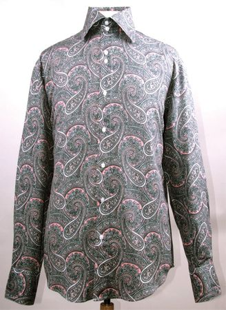 Mens Fancy High Collar Paisley Shirt Rose Color FSS1417