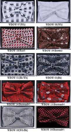 Mens Fancy Pattern Bow Tie Hanky Sets WBOW-1