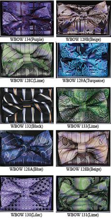 Mens Fancy Pattern Look Bow Tie Hanky Sets WBOW-12