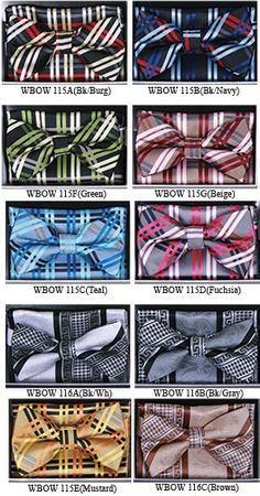 Mens Fancy Style Pattern Bow Ties With the Matching Hanky WBOW-10 - click to enlarge