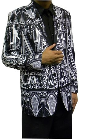 Mens Fashion Blazer Black Geometric Pattern Jacket Martini 5820  Size M