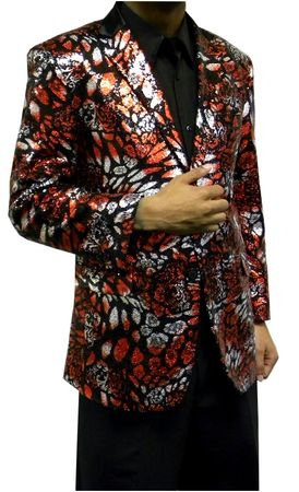 Mens Fashion Blazer Red Black Sequin Jacket AM Hyde 5816 Size 3XL