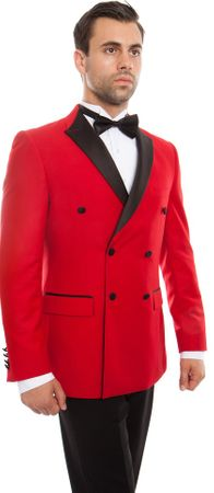 Mens Fashion Double Breasted Slim Fit Red/Black Tuxedo Tazio MT253S-03