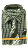 Mens Fashion Dress Shirt Tie Set by Bruno Conte Black Waffle Pattern 989