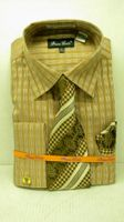 Mens Fashion Dress Shirt Tie Set by Bruno Conte Brown Waffle Pattern 989