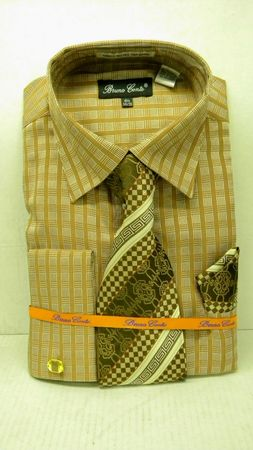 Mens Fashion Dress Shirt Tie Set by Bruno Conte Brown Waffle Pattern 989 - click to enlarge