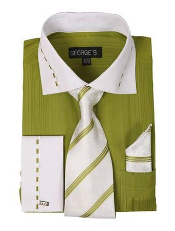George Olive White Collar Cuff Dress Shirt Tie Set AH621 - click to enlarge