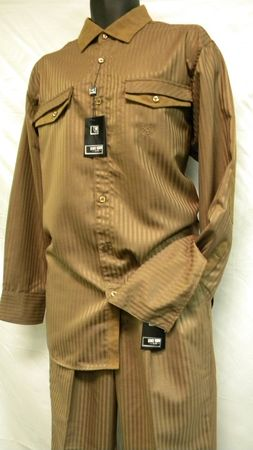 Mens Fashion Outfit by Stacy Adams Taupe Stripe Set 654 Size M/32, L/34