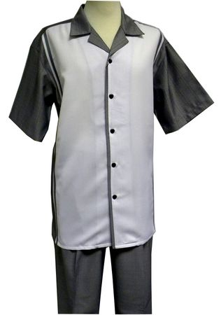 Mens Leisure Outfit Grey Sharkskin Short Sleeve Panel Front  LX14
