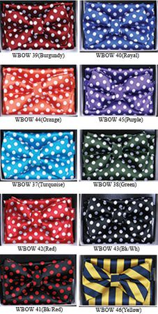 Mens Dot Pattern Bow Tie Hanky Sets WBOW-3