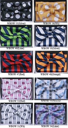 Mens Fashion Pattern Bow Tie Hanky Sets WBOW-4