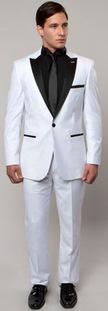 Mens Fashion Peak Lapel Slim Fit White and Black Tuxedo Tazio MT182S-05