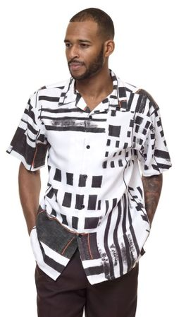 Montique Short Sets Mens Black White Pattern Set 7839