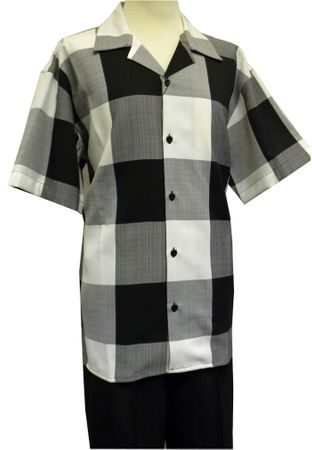 Montique Men's Black Plaid Casual Fashion Short Set 7741 Size M/33