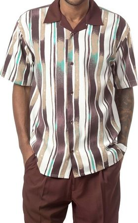Mens Short Sets by Montique Brown Stripe Pattern 136