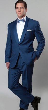 Mens Fashion Slim Fitted Blue Shawl Collar Tuxedo Tazio MT146S-05