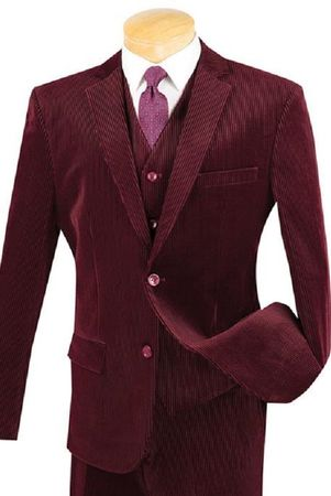 Men's Fashion Slim Fit Burgundy Corduroy 3 Piece Suit Vinci Cord-1 - click to enlarge