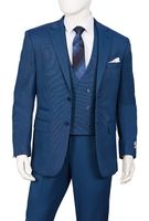 Mens 1920s Fashion Suit Electric Blue Square Bottom Vest T62BR