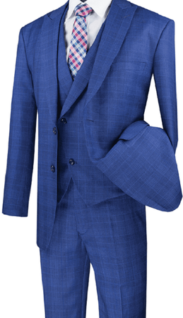 Men's Blue Plaid Modern Fit 3 Piece Fashion Suit Vinci MV2W-1