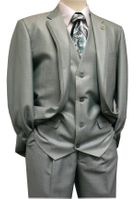 Falcone Men's Mint Green Sharkskin Slit Vested Fashion Suit 3806-072 IS