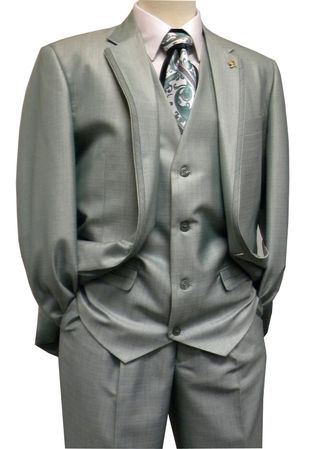 Falcone Men's Mint Green Sharkskin Slit Vested Fashion Suit 3806-072 Size 40R