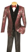 Vinci Mens Wine Velvet Vested 3 Piece Entertainer Suit S-3FL