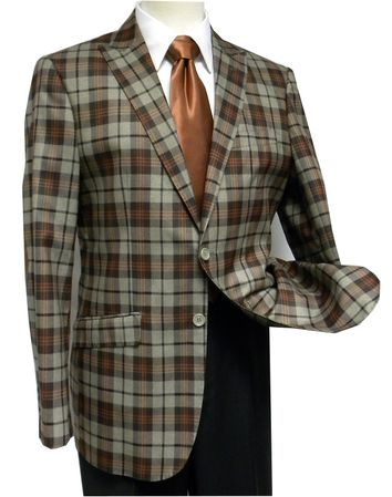 Ferara Mens Brown Plaid Elbow Patch Sport Jacket Size 40L