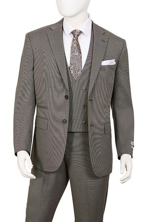 Mens 1920s Fashion Suit Gray Square Bottom Vest T62BR - click to enlarge