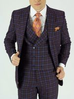 Mens Fashion Suit Church Style Burgundy Plaid Round Collar Vest KNY NS2PV-8769