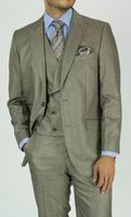 Mens Fashion Suit Urban Style Taupe Shawl Collar Vest KNY NS2PV-0177