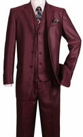 Mens Fashion Suits by Falcone Burgundy 2 Button Vested Suit 366-075 IS