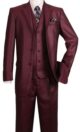 Mens Fashion Suits by Falcone Burgundy 2 Button Vested Suit 366-075 IS - click to enlarge
