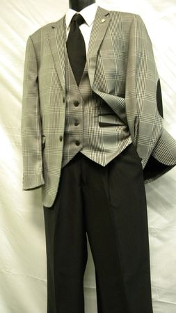 Mens Fashion Suits by Falcone Grey Plaid Vested 3 Piece 3951-000 IS - click to enlarge