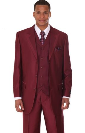 Mens Fashion Suits by Milano Moda Burgundy Vested Sharkskin Suit 5907V
