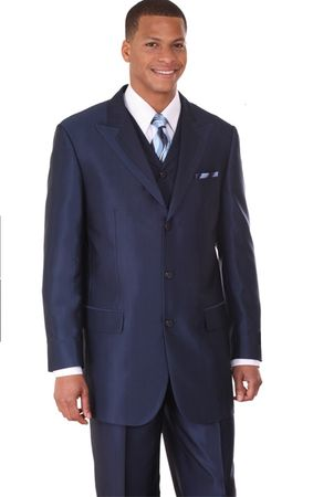 Mens Fashion Suits by Milano Moda Navy Vested Sharkskin Suit 5907V