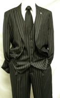 Stacy Adams Black Gangster Stripe Fashion Suit Mars Vested 4017-000  Size 66 Long Final Sale