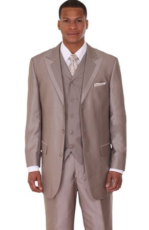 Mens Fashion Suits by Milano Moda Tan Vested Sharkskin Suit 5907V