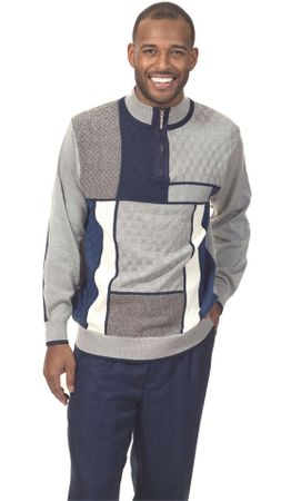 Mens Fashion Sweater and Pants Set Navy Blue Square Montique 1707