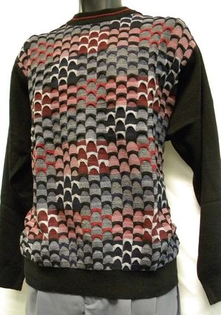 Mens Fashion Sweater by Gochu Burgundy Australian Style Crewneck 1327 - click to enlarge