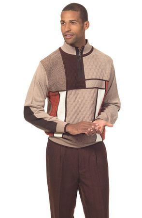 Mens Fashion Sweater with Pants Set Dark Brown Square Montique 1707