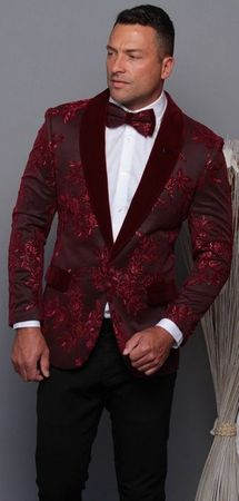 Manzini Men's Burgundy Floral Embroidered Fitted Tuxedo Blazer MZE-180 Bow