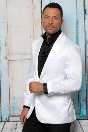 Manzini Mens White Fitted Satin Blazer Jacket MZQ-100 - click to enlarge
