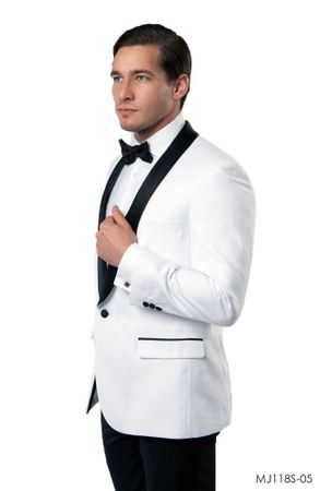 Mens Slim Fit White and Black Tuxedo Jacket Size 48L MJ118S Final Sale