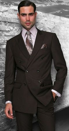 Men's Fine Wool Brown Double Breasted Suits By Statement TZD-100