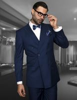 Men's Fine Wool Double Breasted Indigo Suits By Statement TZD-100