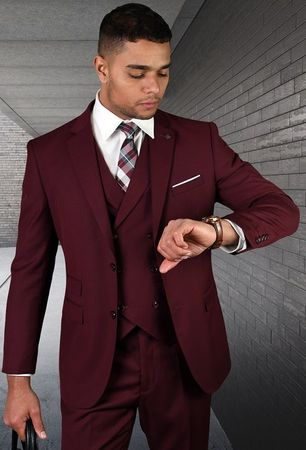Statement Men's Wool 3 Piece Tailored Fit Burgundy DB Vest Suit Lazio - click to enlarge